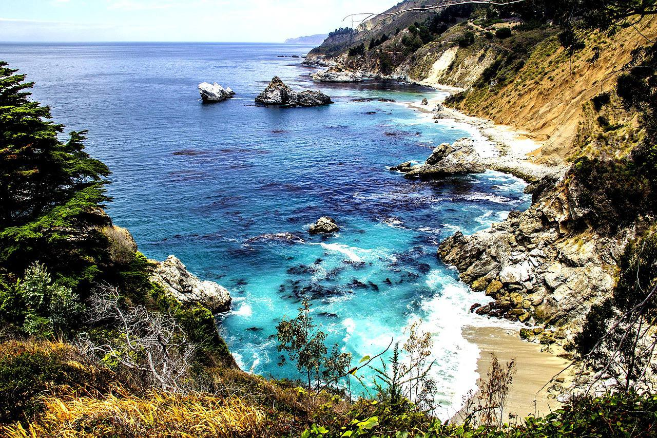 The Big Sur coast on Highway One