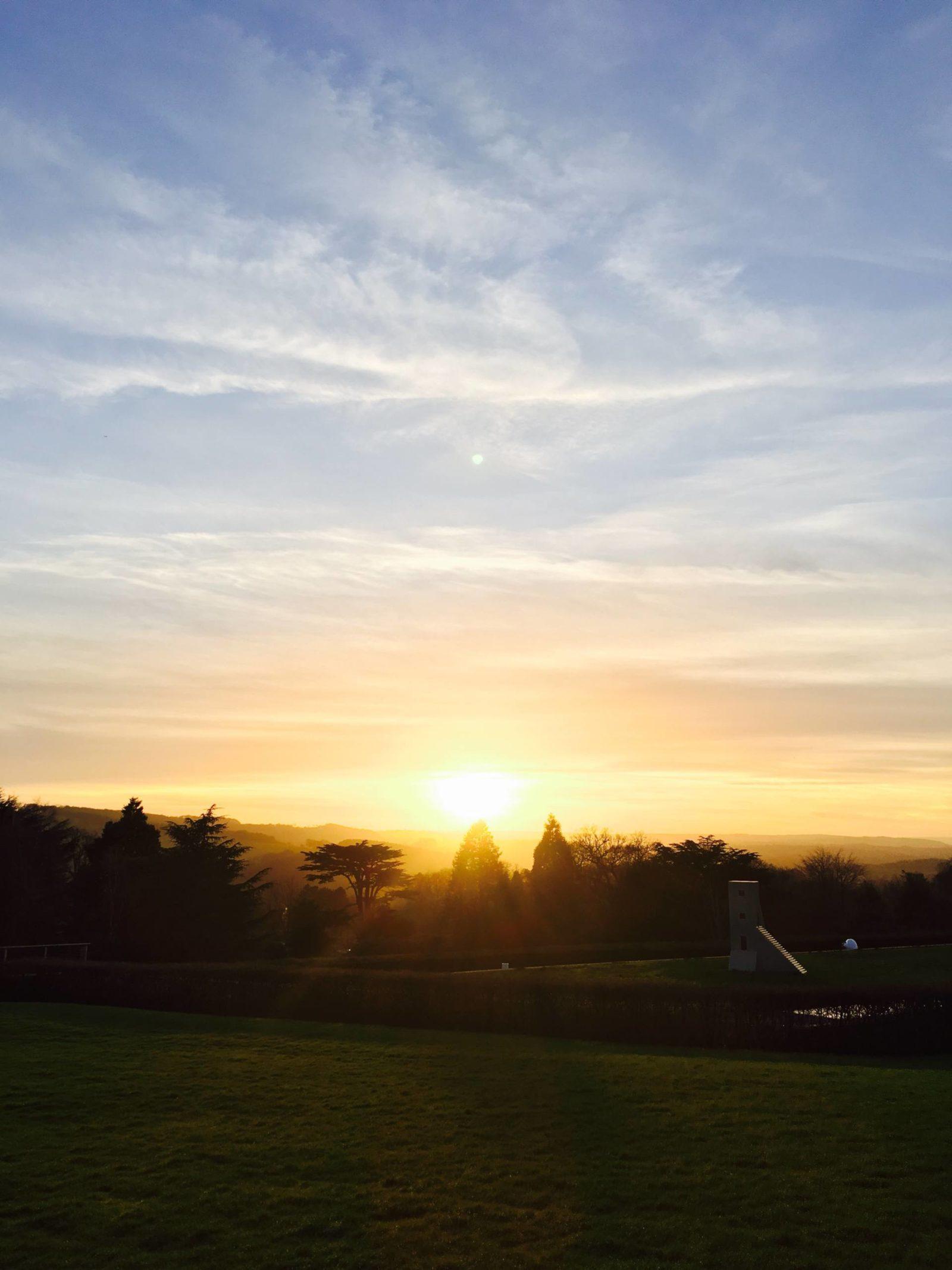 sunset at yorkshire sculpture park