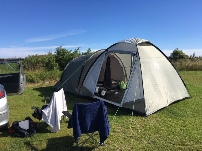 Our tent at Beadnell Bay Campsite