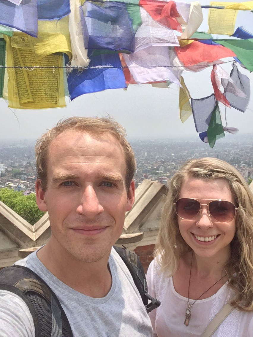 Me and nick stood at the top of monkey temple in Kathmandu, Nepal